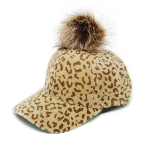 Animal Print Baseball Hat With Faux Fur Pom Pom