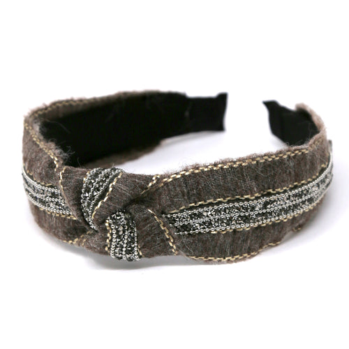 Glass Stone Trimmed Front Knot Detail Woven Headband