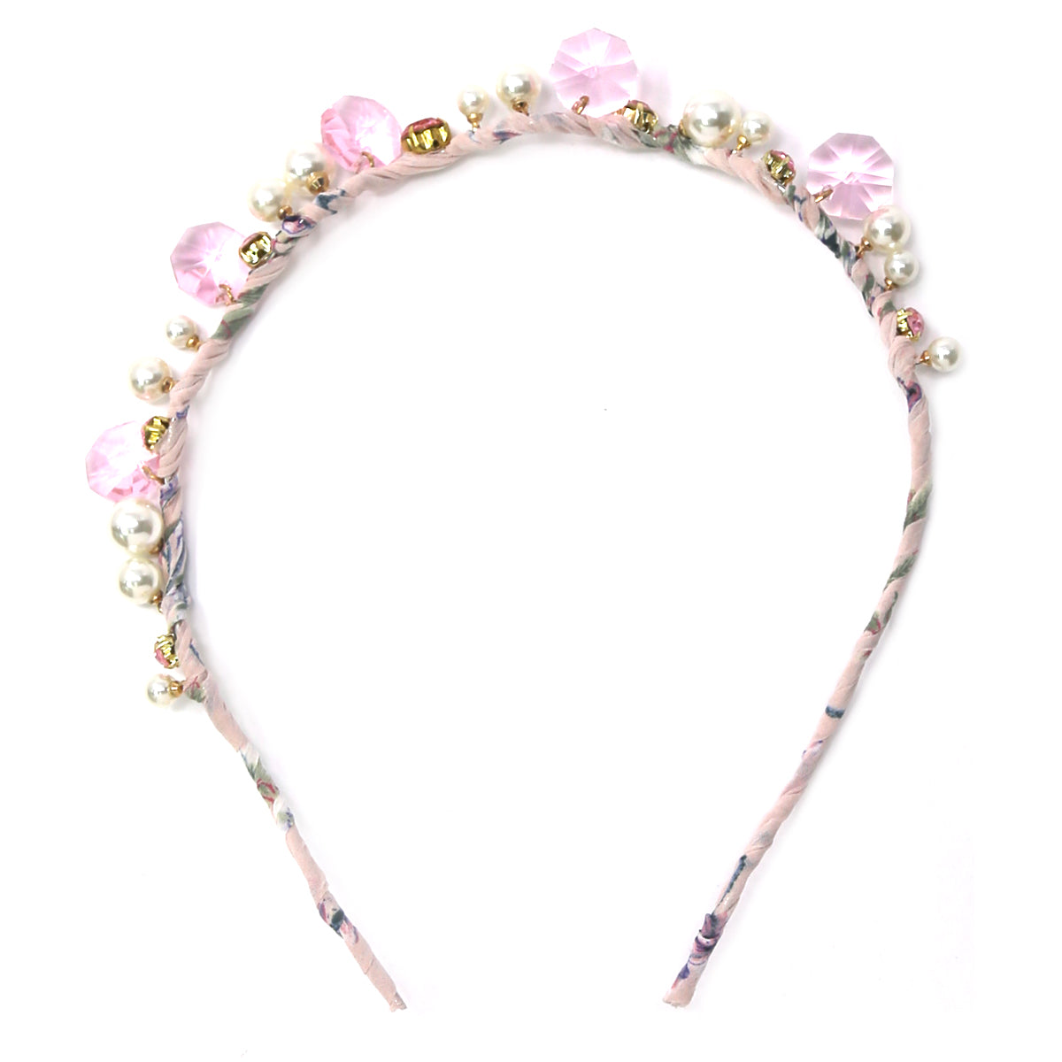 Glass Stone Pearl Bead Embellished Fabric Wrapped Headband