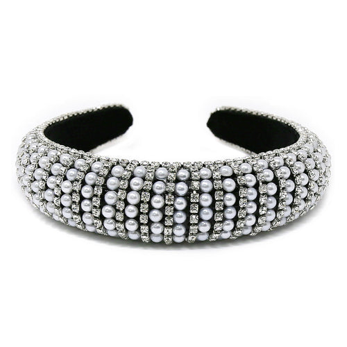 Pearl And Glass Stone Embellished Padded Headband