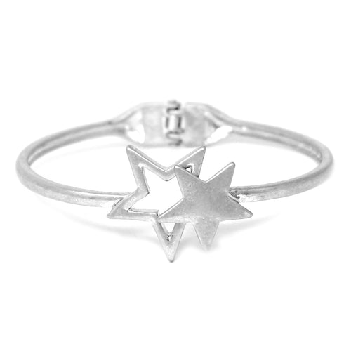 Star Metal Hinged Bangle Bracelet