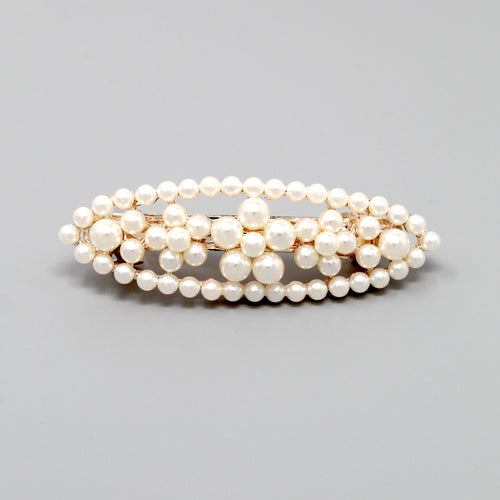 Pearl Bead Embellished Flower Oval Shape Barrette Hair Pin