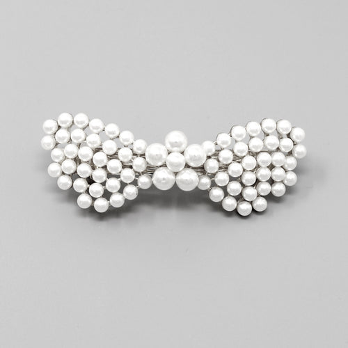 Pearl Bead Embellished Butterfly Barrette Hair Pin