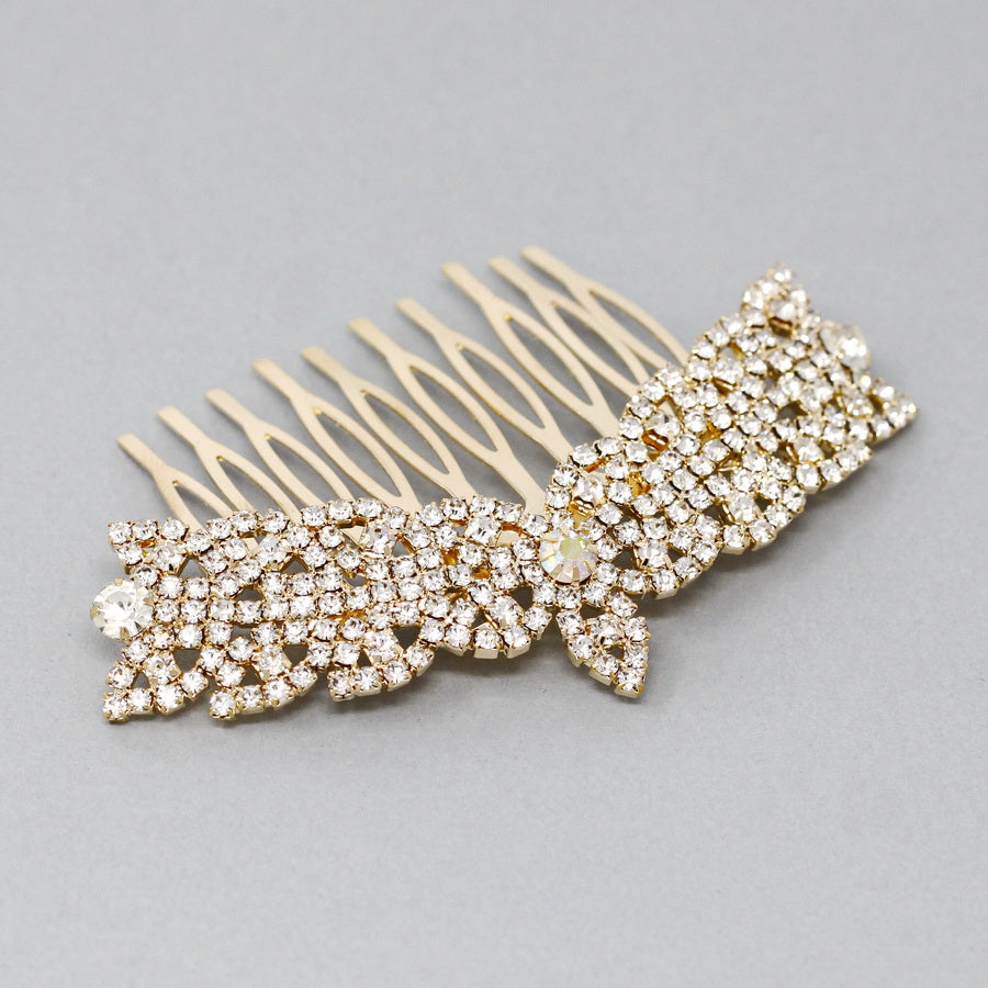 Glass Stone Paved Bridal Hair Comb
