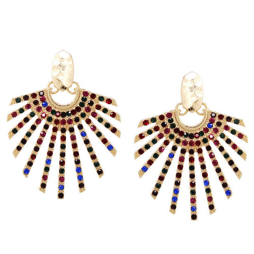 Rhinestone Pave Fan Shape Statement Earrings