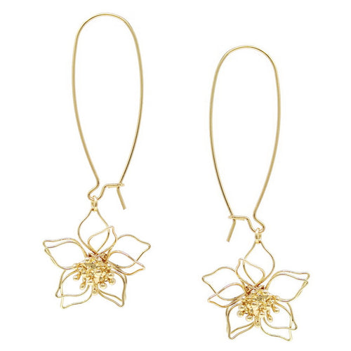 Wired Filigree Flower Long Hook Earrings