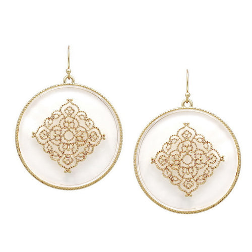 Mother Of Pearl Disc With Metal Cutout Embellishment Earrings
