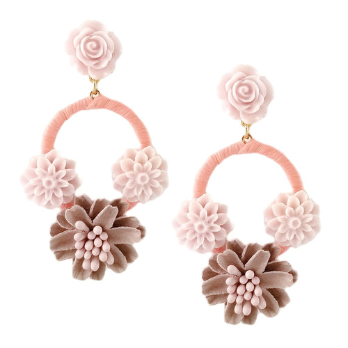 Lightweight Fabric And Resin Flower Drop Earrings