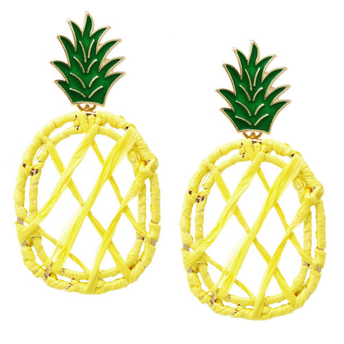 Pineapple Raffia Wrapped Earrings