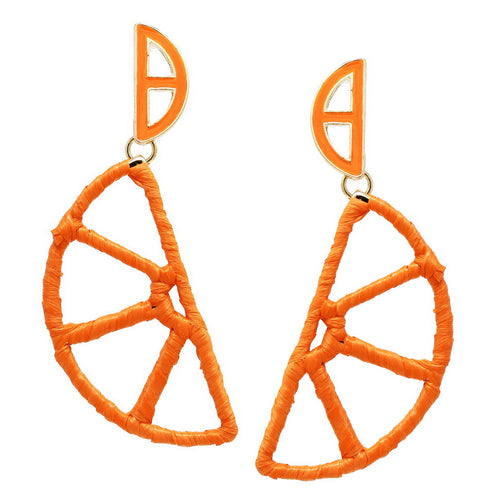 Orange Slice Raffia Wrapped Earrings