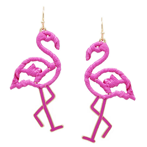 Flamingo Raffia Wrapped Earrings Product Code: