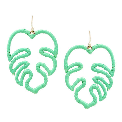 Tropical Leaf Raffia Wrapped Earrings