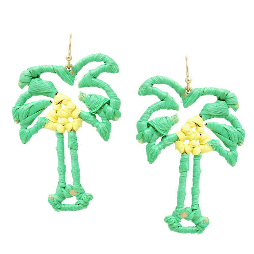 Palm Tree Raffia Wrapped Earrings