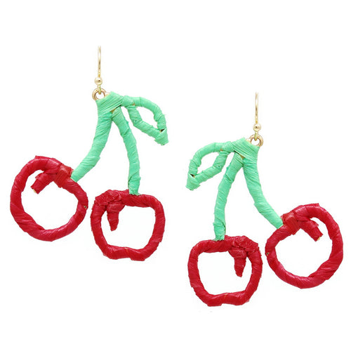 Cherry Raffia Wrapped Earrings