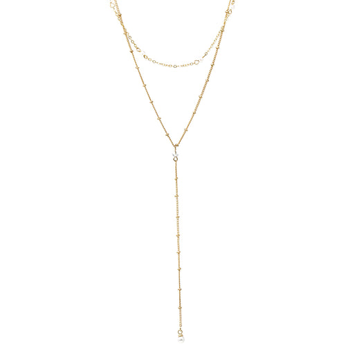 Pearl Beaded Strand With Pearl Drop Layered Y-Necklace