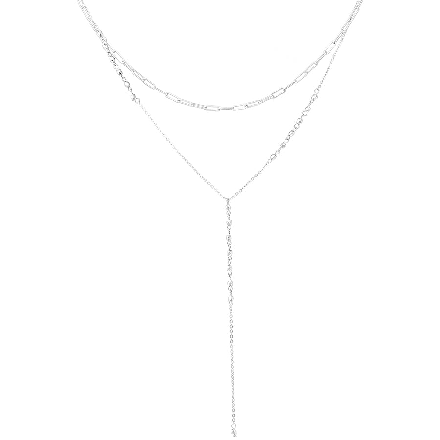 Double Chain Layered Y-Shape Short Neckalce
