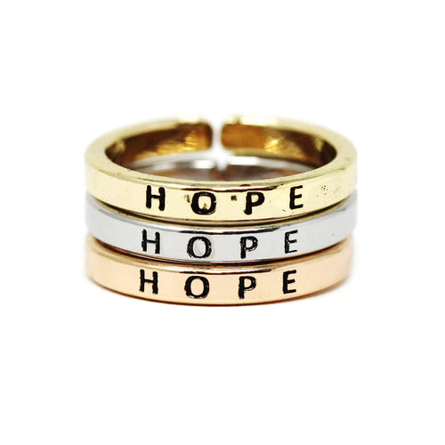 HOPE Inspirational Tri Tone Ring Set