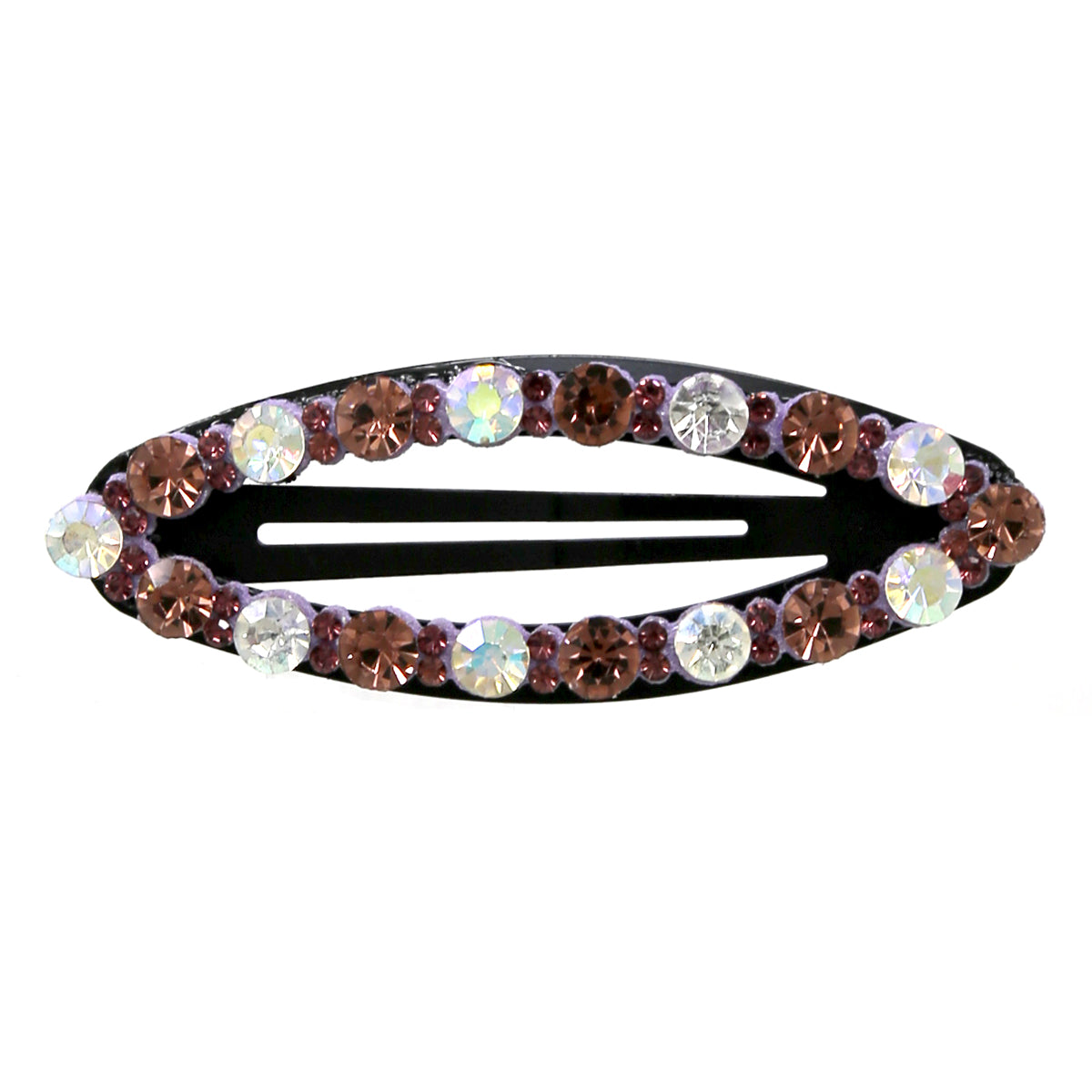 Glass Stone Pave Oval Shape Hair Clip