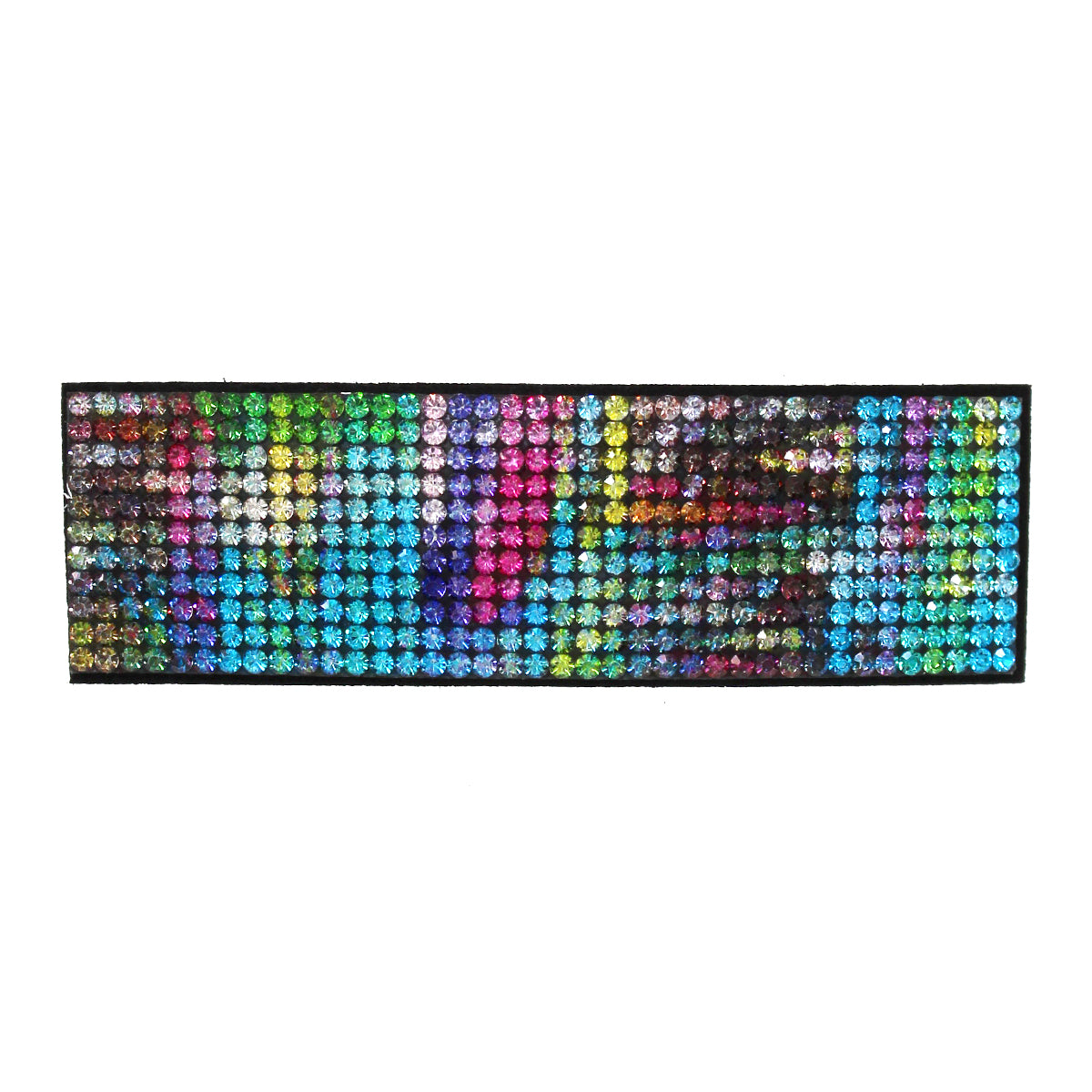 Multi Color Rhinestone Pave Rectangle Shape Hair Clip