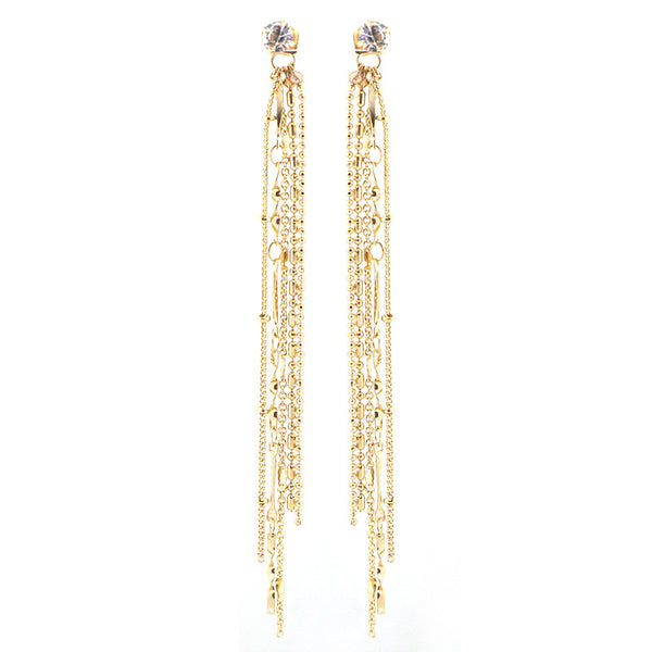Multi Chain Tassel Drop Earrings