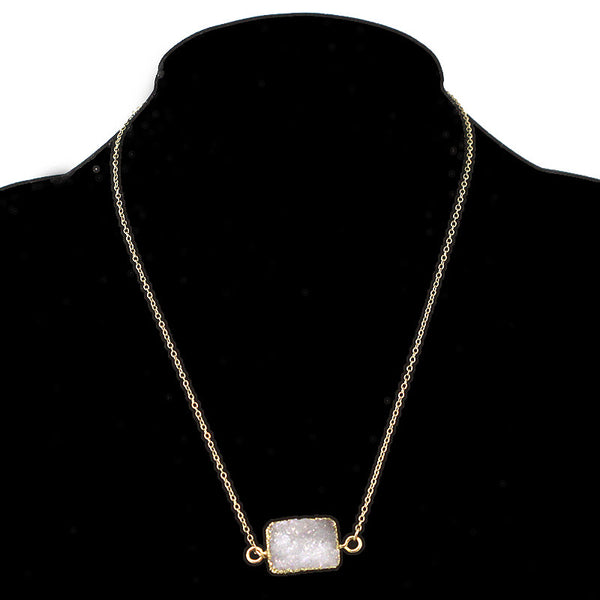 Rectangular Druzy Stone Pendant Necklace