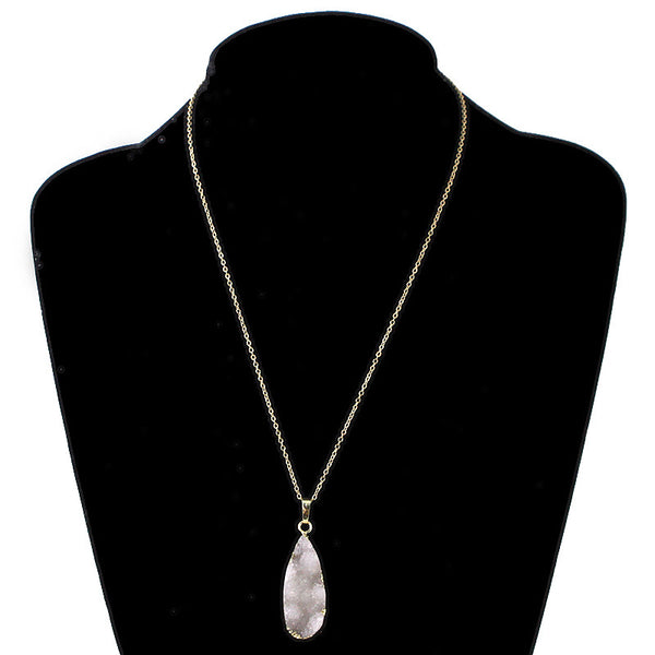 Teardrop Druzy Stone Pendant Necklace
