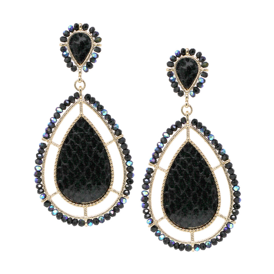 Teardrop Shaped Snake Faux Leather With Glass Bead Drop Earrings