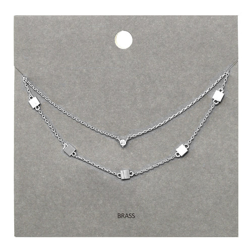 Cubic Zirconia Pendant With Square Station Layered Short Necklace