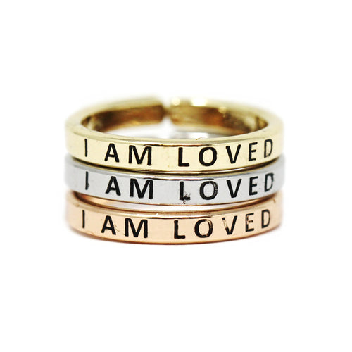 I AM LOVED Inspirational Tri Tone Ring Set