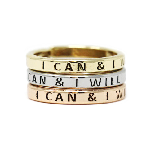 I CAN & I WILL Inspirational Tri Tone Ring Set