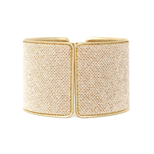 Glitter Fabric Embellished Wide Hinged Bracelet