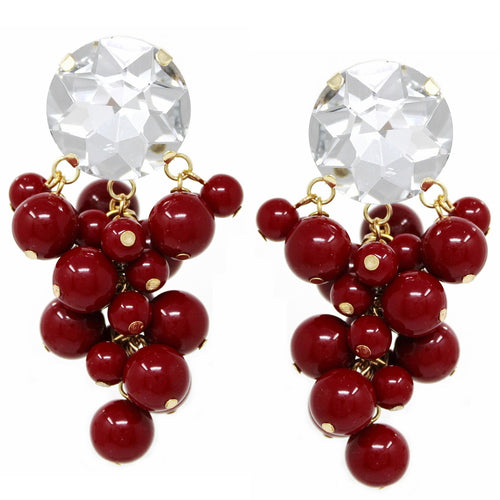 Chunky Glass Stone Beaded Cluster Drop Earrings