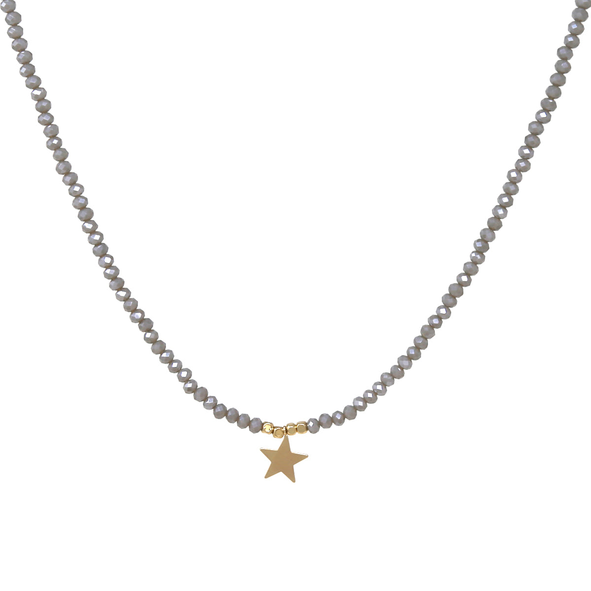Metal Star Pendant Glass Beaded Short Necklace