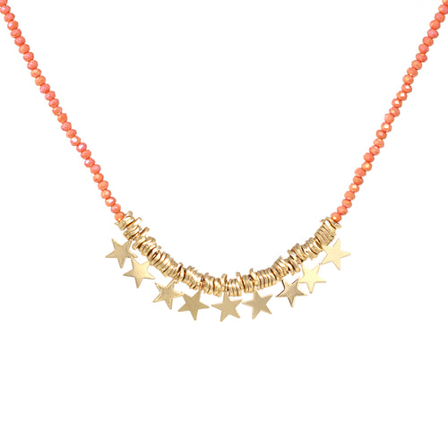 Metal Star Fringe Glass Beaded Short Necklace