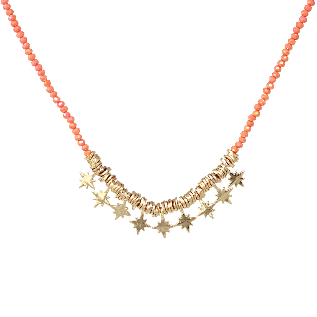 Metal Starburst Fringe Glass Beaded Short Necklace