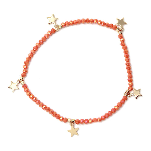 Star Charm Fringe Glass Beaded Stretch Bracelet