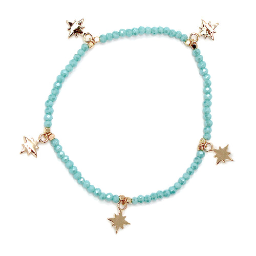 Starburst Charm Fringe Glass Beaded Stretch Bracelet