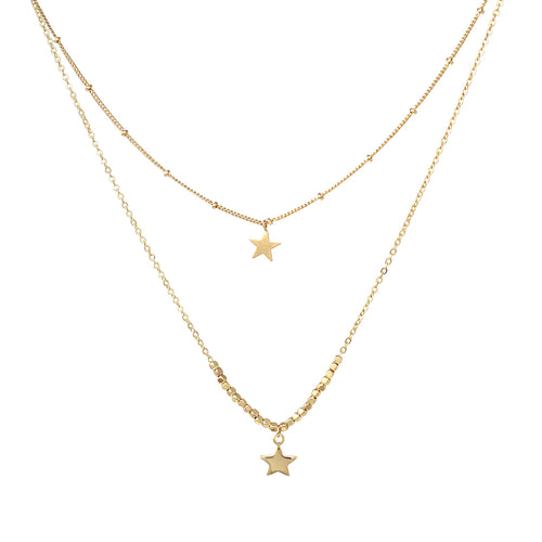 Star Pendant Double Layered Short Necklace