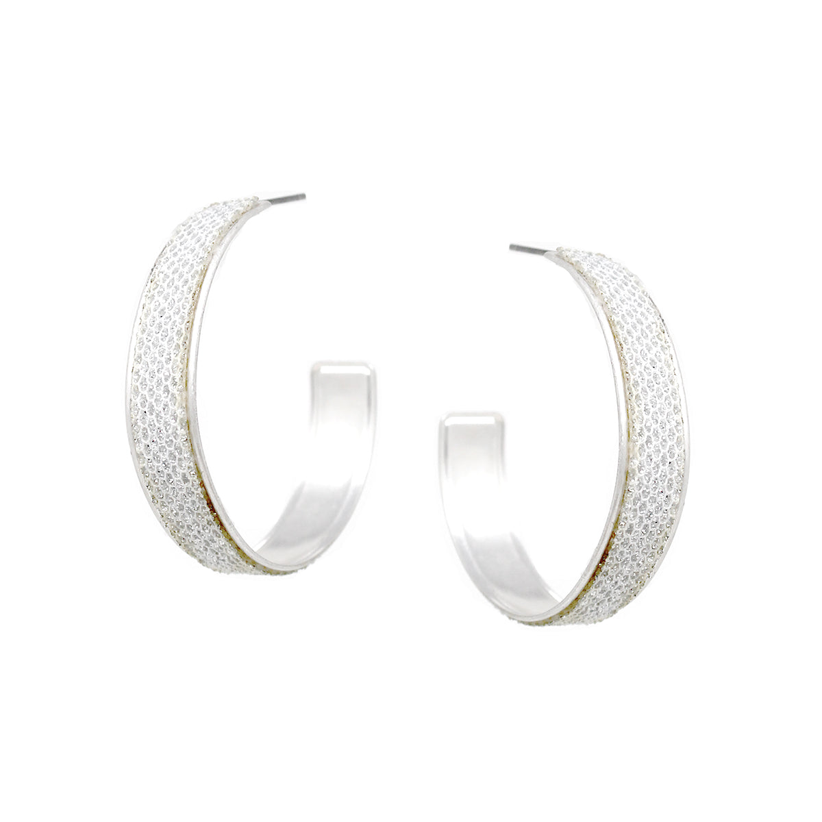 Glitter Fabric Embellished Edge Hoop Earrings