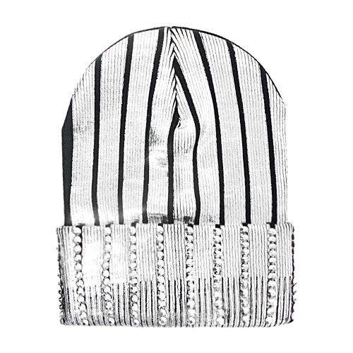 Rhinestone With Foil Printed Knit Beanie