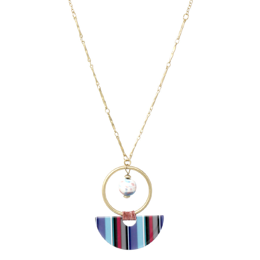 Ceramic Bead Dangle With Hoop And Acetate Pendant Necklace