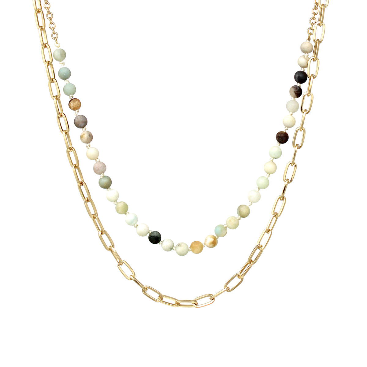 Natural Stone Bead With Chain Layered Short Necklace