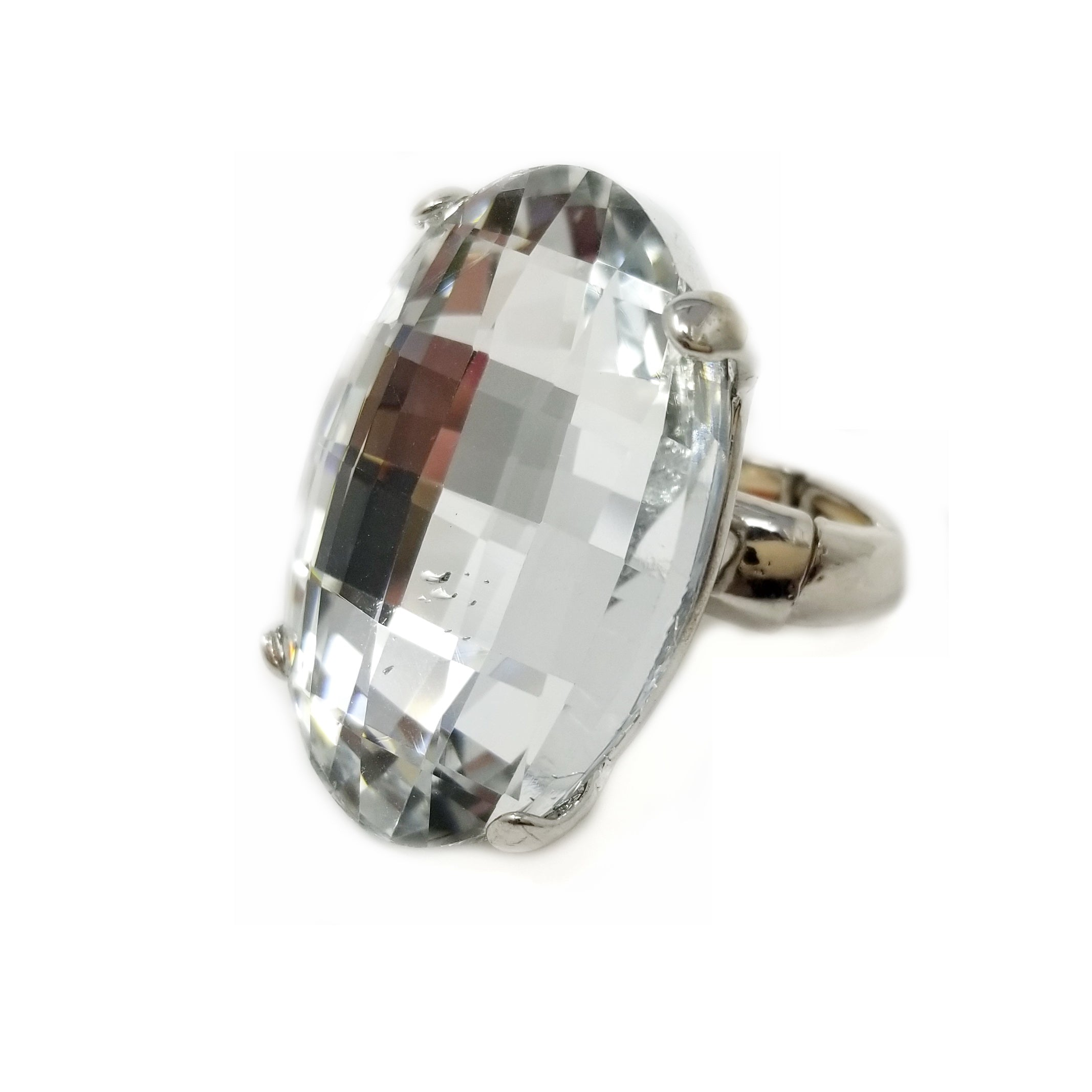 Oversized Crystal Oval Stretch Ring