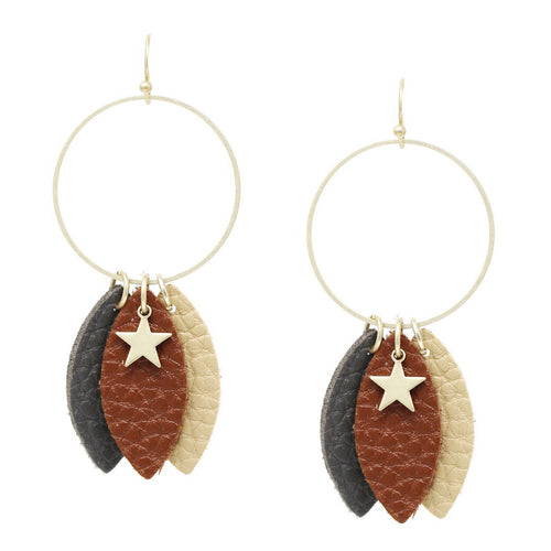 Multi Color Leather Leaf And Star Charm Hoop Drop Earrings