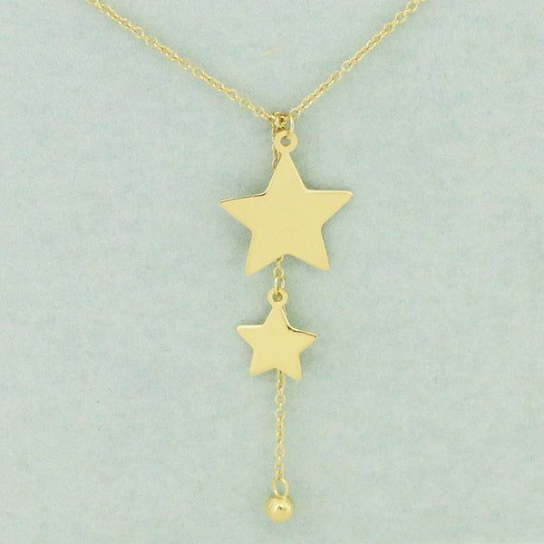 925 Sterling Silver Linear Stars Necklace