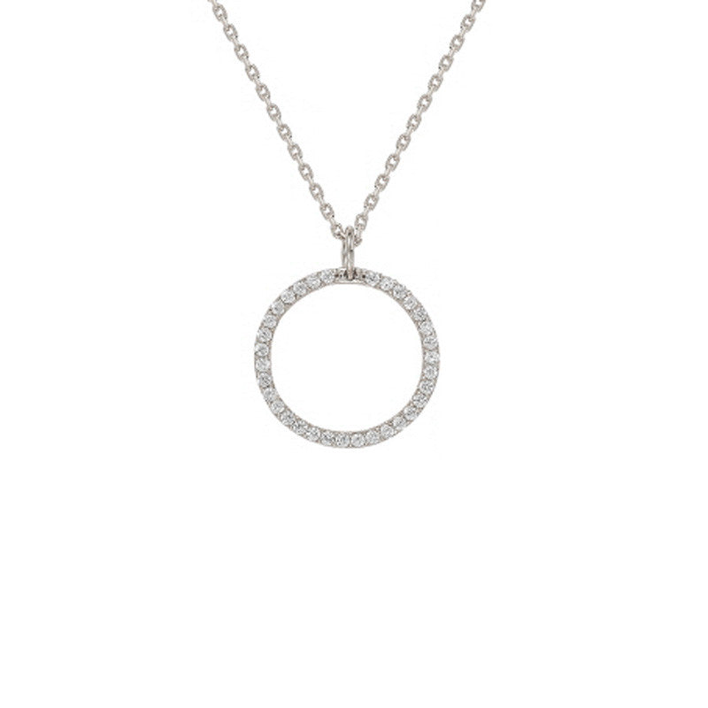 Cubic Zirconia Pendant Brass Necklace
