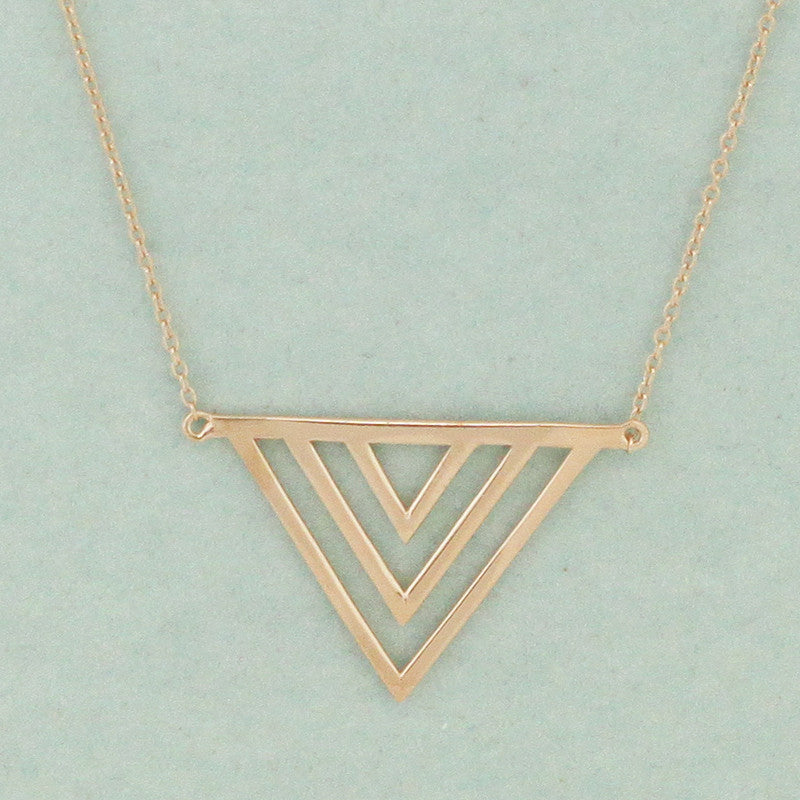 925 Sterling Silver Triangle Pendant Necklace