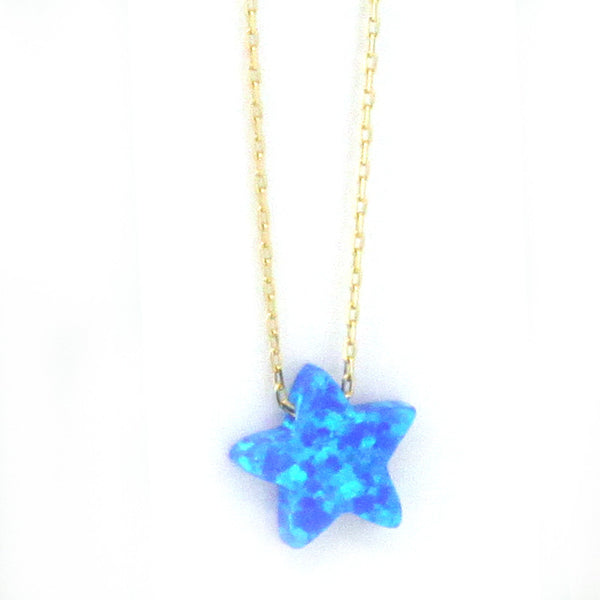 925 Sterling Silver Star Opal Necklace