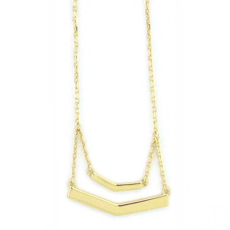 925 Sterling Silver Double Bar Necklace