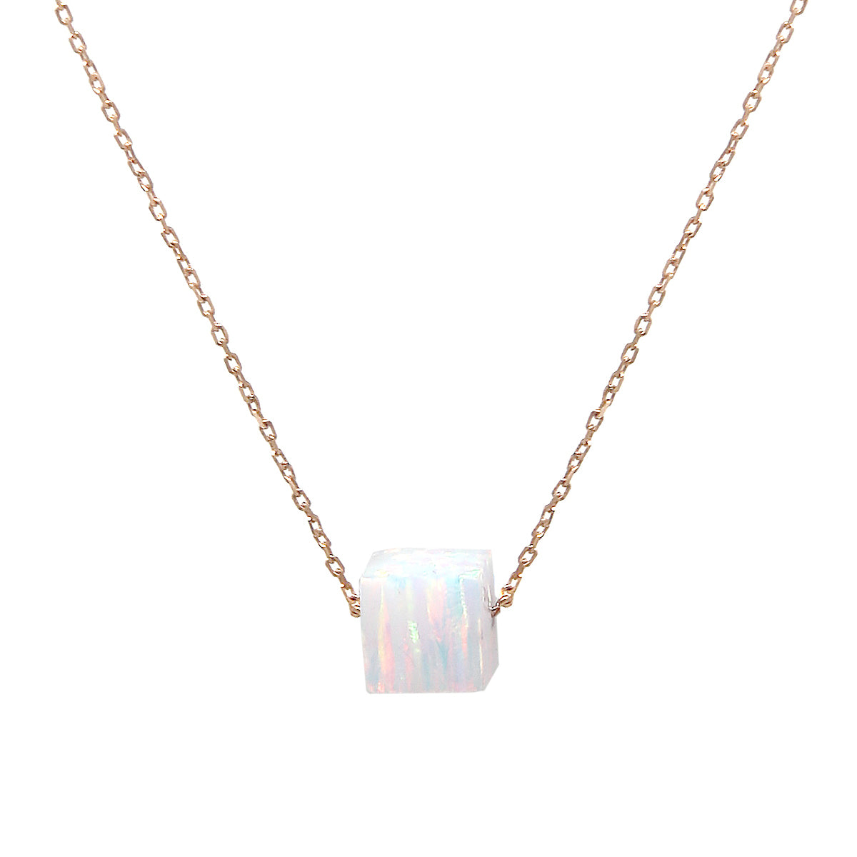 Opal Cube Pendant Sterling Silver Short Necklace